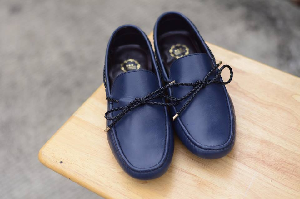 823-2 Driving loafer DeepBlue with Plait lace