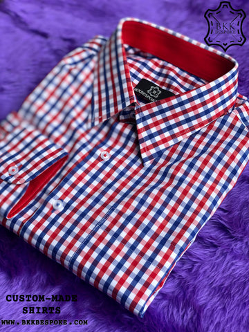 Famous Red-Blue Checkered Shirt with Red ICIC - Silver Quality