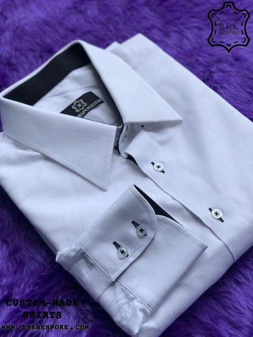 Fish Skin Self-Design White Shirt with Dark Blue ICIC - Silver Quality