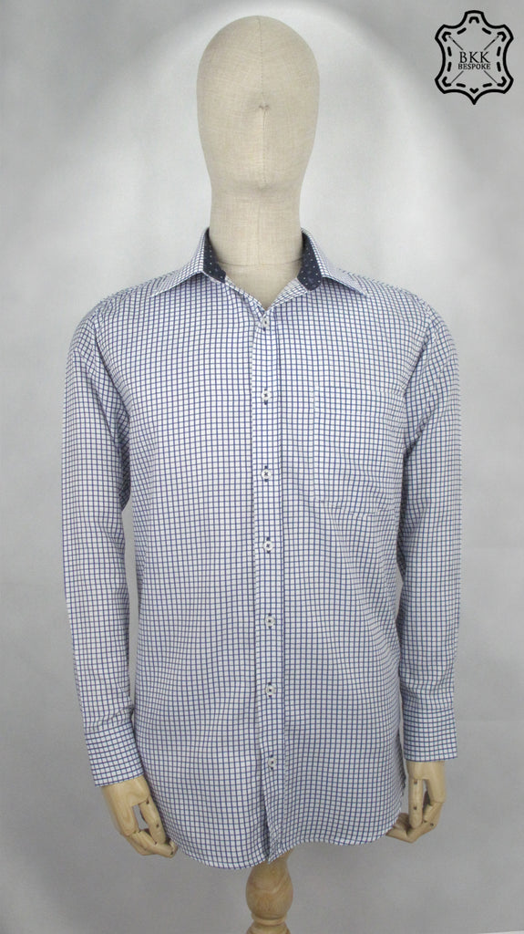 Silver Checked Dark Blue