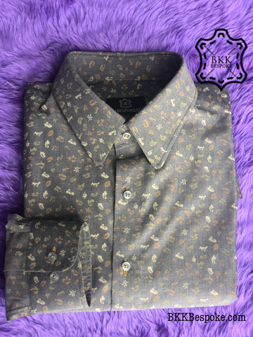 Grey Shirt with Multi Leaf Colors