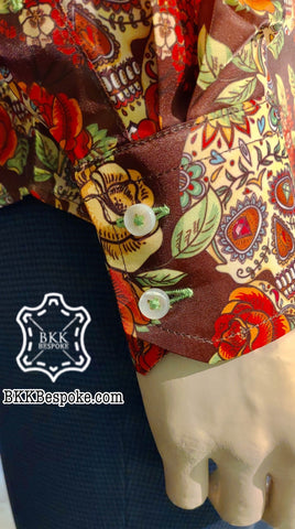 Printed Brown Skull Flowers Shirt + Lining Fabric