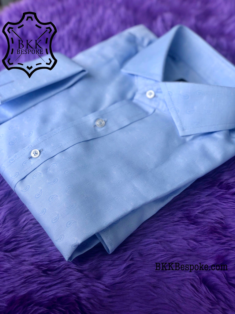 Paisley Self-Design Blue Shirt