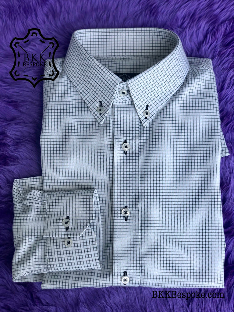 Black Checkered White Base Shirt - Button Down
