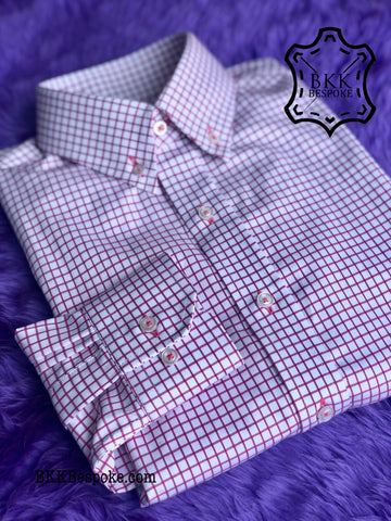 Dark Pink Checkered White Base Shirt - Button Down