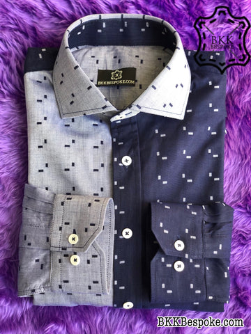 Double Sided Square Blue Grey Shirt