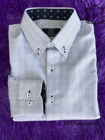 Checkered Blue-Light Blue Shirt - Silver Quality