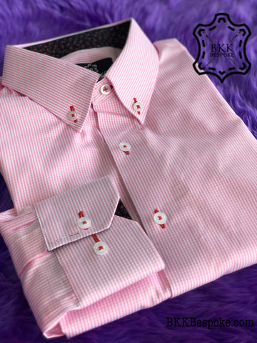 Pink Small Checkered Shirt with Black-Red Flower ICIC