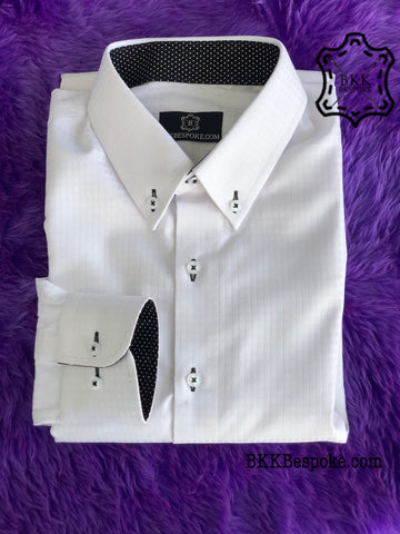 Checkered Self-Design White Shirt + ICIC - Silver Quality
