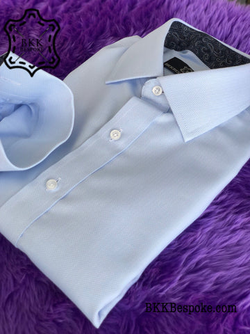 Blue Small Herringbone Shirt - ICIC - Silver Quality