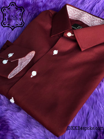 Plain Maroon Shirt with Paisley ICIC