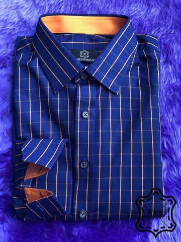 Blue Orange Checkered Shirt - ICIC - Silver Quality