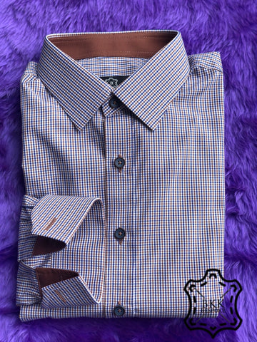 Brown-Blue Checkered Shirt - ICIC - Silver Quality