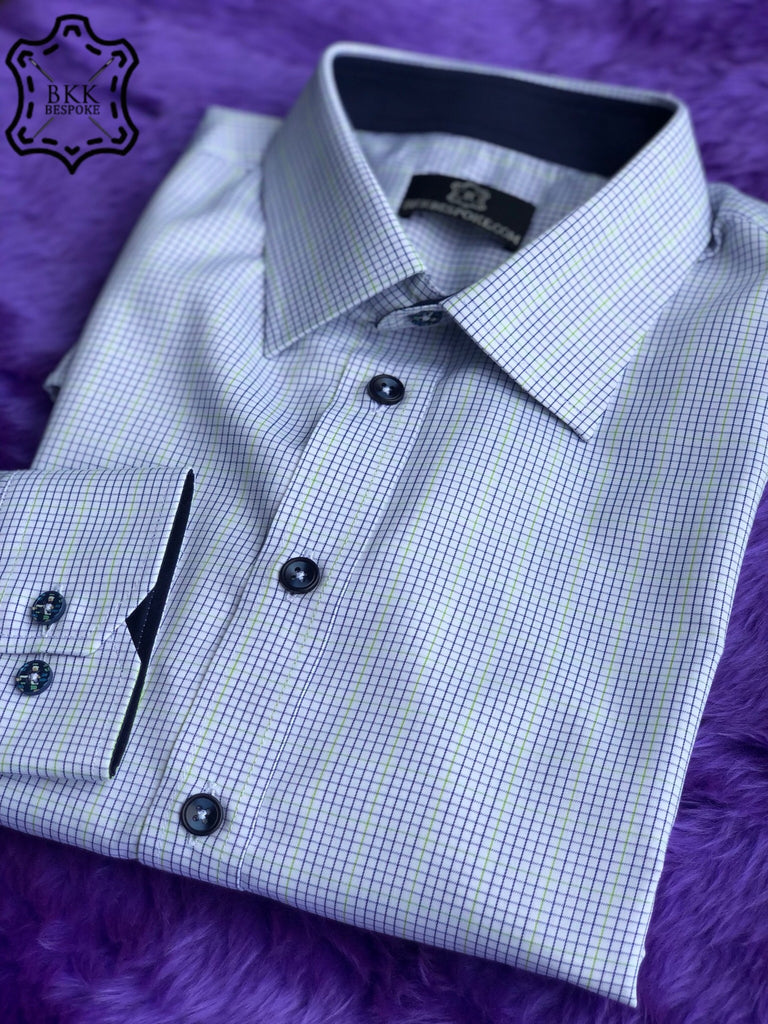 Checkered Blue-Light Green Shirt - Silver Quality