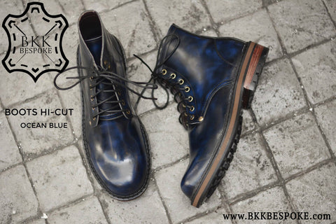 500 Derby Shoe - Ocean Blue - Hi-Cut