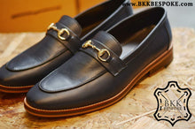 Load image into Gallery viewer, 702 Horsebit Loafer X Oiled Blue - Wooden Sole