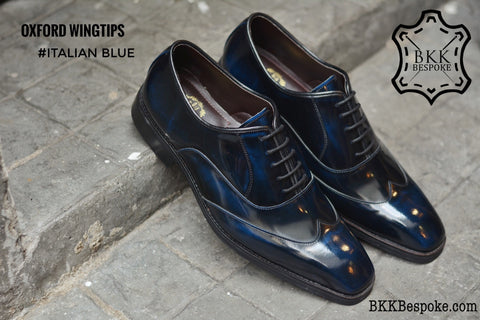 502-1 New Oxford Shoes Wingtips Italian Blue