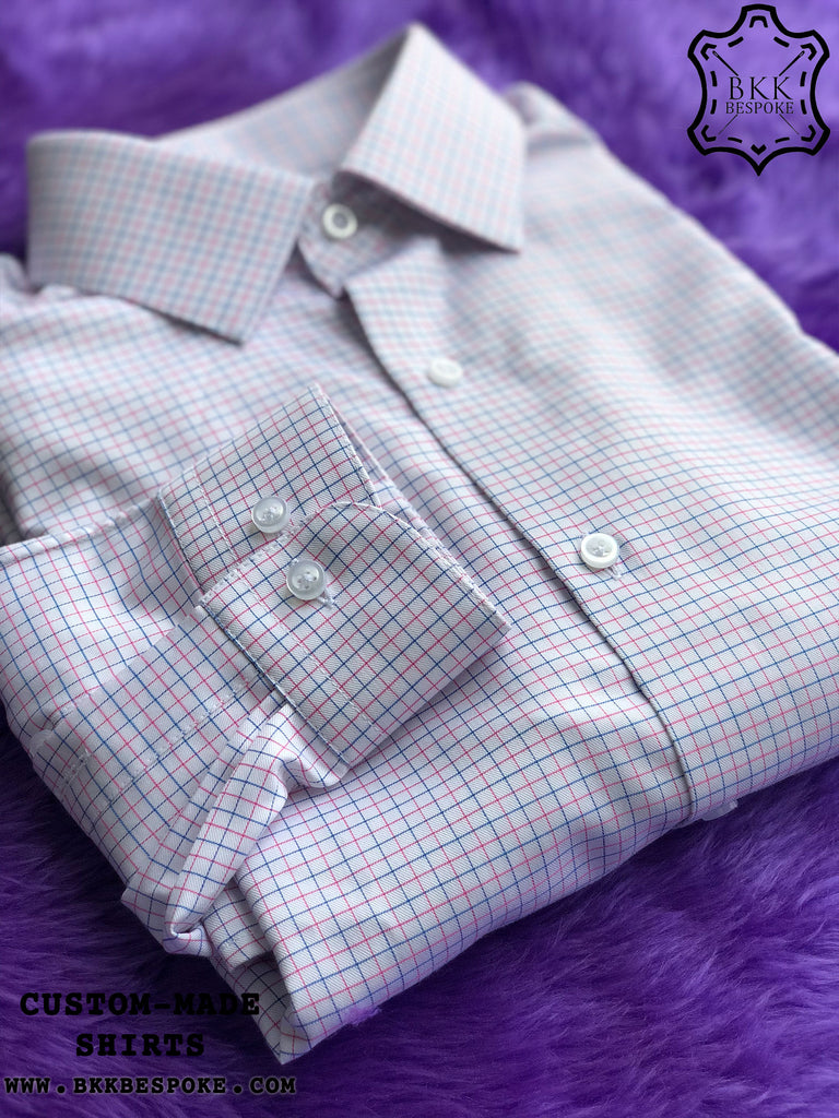 Pink-Blue Checkered Shirt - Gold Quality