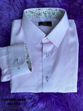Load image into Gallery viewer, Pink Herringbone Shirt with Purple Print ICIC - Silver Quality