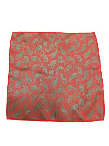 Small Red Grey-Green Paisley