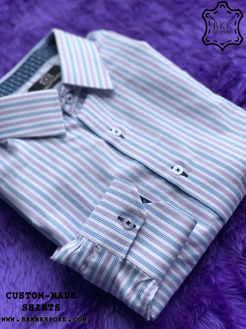 Purple Blue Stripes Shirt with Printed Blue ICIC - Silver Quality