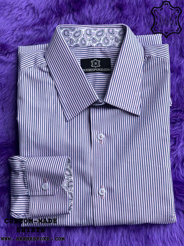 Purple Thin Dark Blue Stripes Shirt with Printed Purple ICIC - Silver Quality