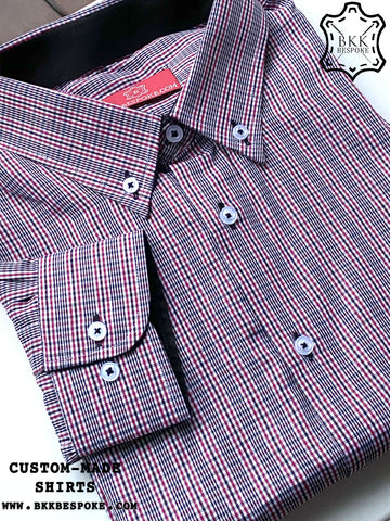 Checkered Black-Red Contrast Shirt - Plain Black ICIC - Silver Quality