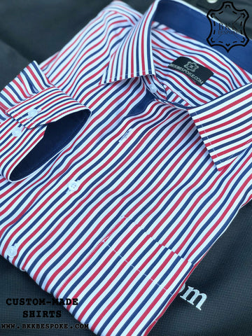 Red-Blue Stripes Shirt with Dark Blue ICIC
