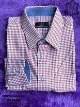 Load image into Gallery viewer, Dark Red Checkered Shirt with Blue ICIC