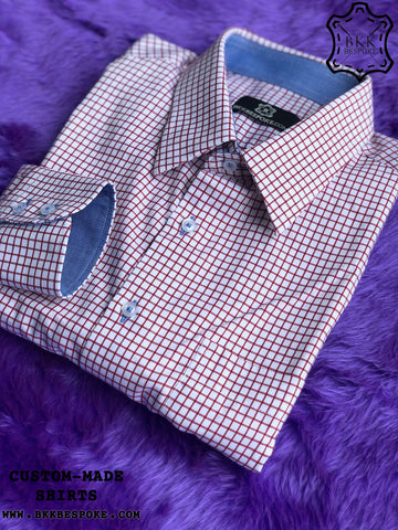 Dark Red Checkered Shirt with Blue ICIC