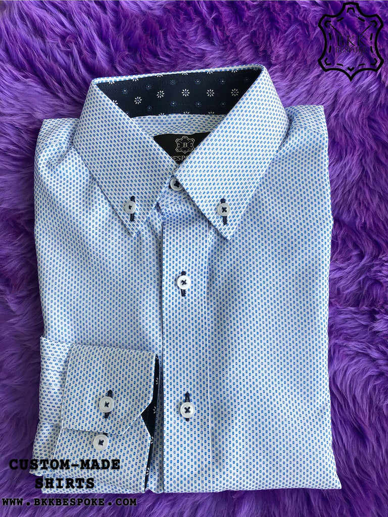 Square Blue Box Shirt with Print ICIC - Silver Quality