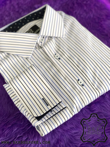 Blue-Black Stripes White Shirt - Blue Diamond ICIC