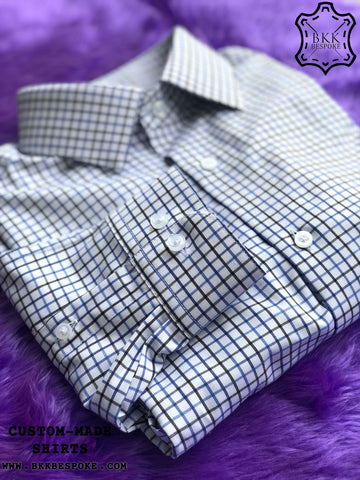 Triple Blue-Black Checkered Shirt - Gold Quality