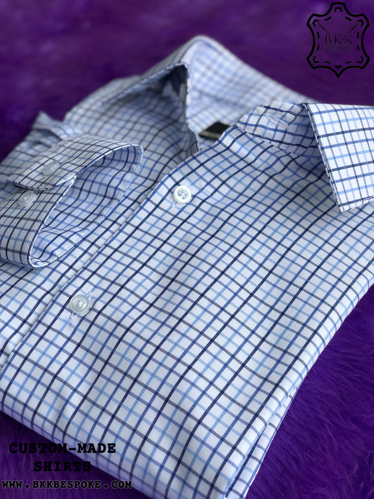 Triple Blue-Light Blue Checkered Shirt - Gold Quality