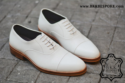 502-1 Oxford White Cap Toe - Wooden Sole