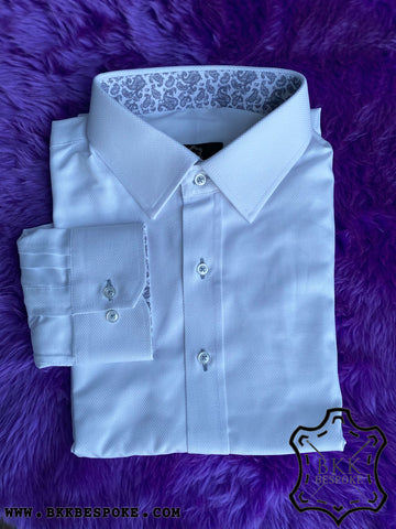 White Bird Eyes Self-Design Shirt - Printed ICIC - Silver Quality