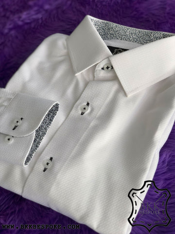 White Infinite Self-Design Shirt - ICIC - Silver Quality
