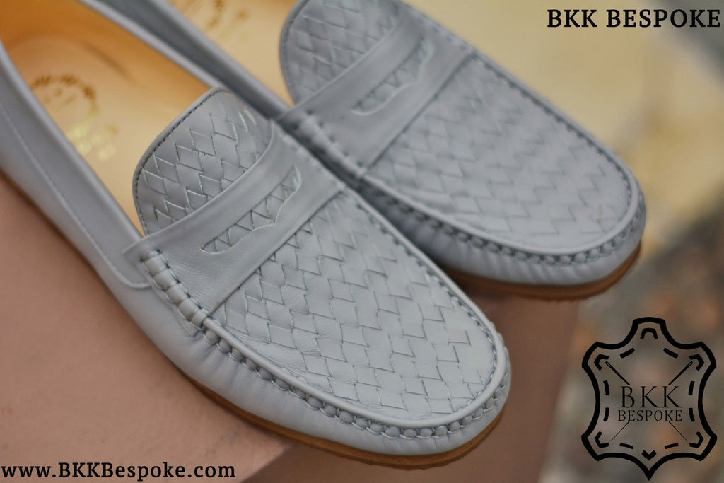Woven Winter Grey Loafers