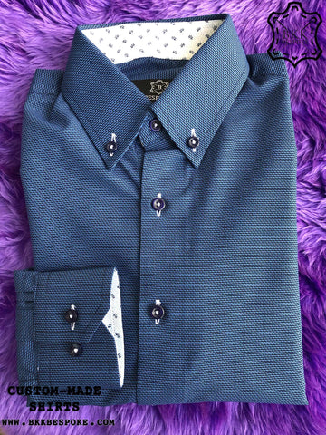 Blue Zigzag Shirt with Print ICIC - Silver Quality