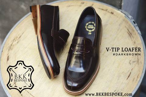 V-Tip Blutcher Loafer Dark Brown x Wooden