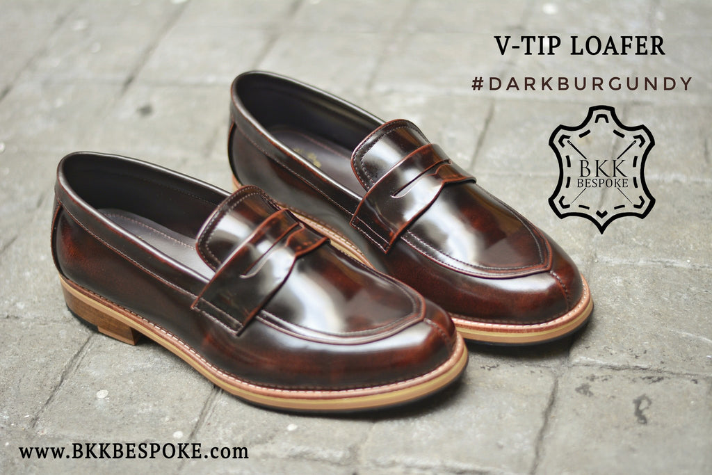 V-Tip Blutcher Loafer Burgundy x Wooden