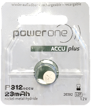PowerOne ACCU Plus p312 Rechargeable Hearing Aid Battery for Siemens