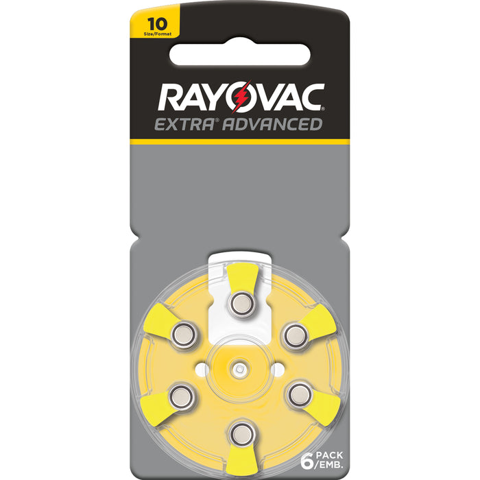 Rayovac Extra Advanced Size 10 Hearing Aid Batteries 6 Pack 2018 Packaging