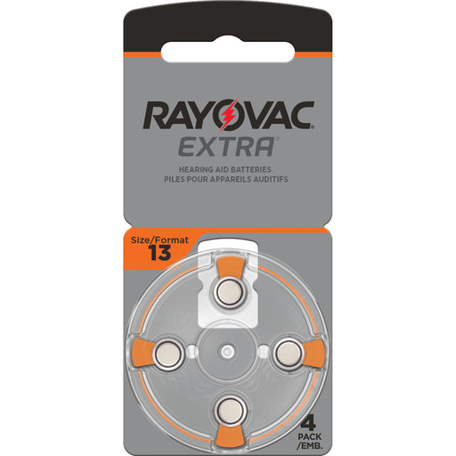 Rayovac Extra Advanced Size 13 Hearing Aid Batteries 4 Pack 2020 Packaging