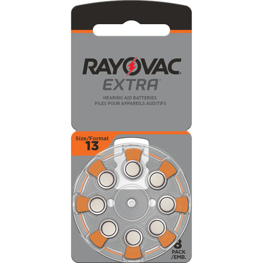 Rayovac Extra Advanced Size 13 Hearing Aid Batteries 8 Pack 2020 Packaging