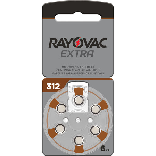 Rayovac Extra Advanced Size 312 Hearing Aid Batteries 6 Pack 2020 Packaging