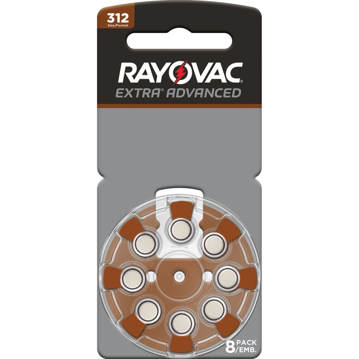 Rayovac Extra Advanced Size 312 Hearing Aid Batteries 8 Pack 2018 Packaging