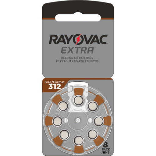 Rayovac Extra Advanced Size 312 Hearing Aid Batteries 8 Pack 2020 Packaging