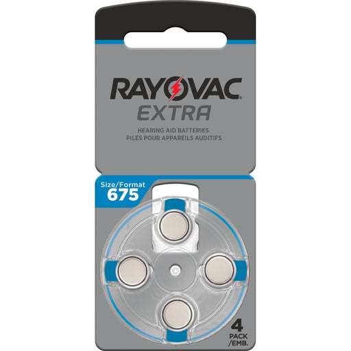 Rayovac Extra Advanced Size 675 Hearing Aid Batteries 4 Pack 2020 Packaging
