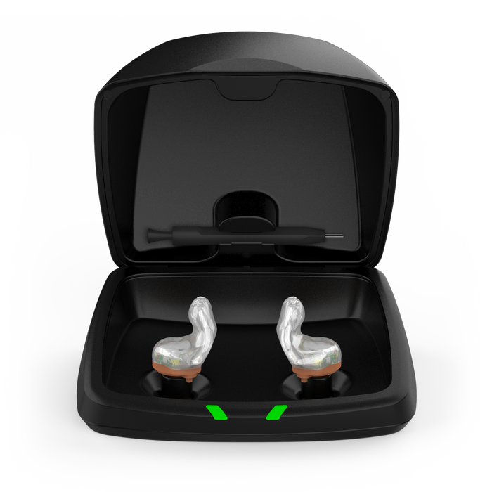 Starkey Custom Charger Open Lid with Clear Shell Custom Hearing Aids
